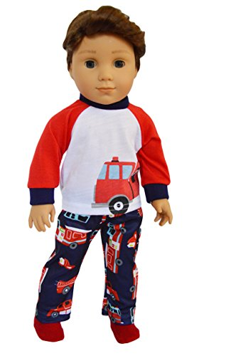 (Brittany's My Fire Engine Pjs Fits Compatible with American Girl Boy Dolls- 18 Inch Doll Clothes )