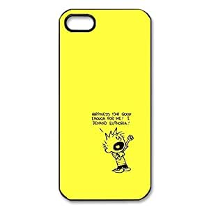 Calvin And Hobbes, Rubber Phone Cover Case For iPhone 5, iphone 5s Cases, Black / White