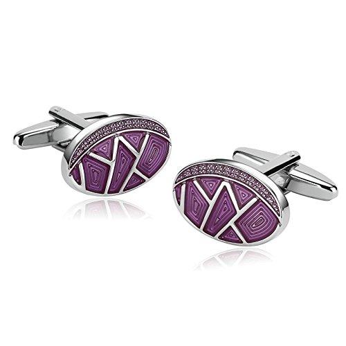 KnSam Stainless Steel Cufflinks for Mens Oval Striped Design Purple Shirt Stud
