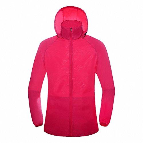 (Maoko Sports Outdoor Running Windbreaker Jacket with Hood- Lightweight Sun UV Protection Rose)