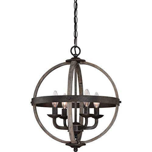 Quoizel FSN5204RK Chandelier Fusion Foyer, Large, Rustic (Fusion Transitional Chandelier)