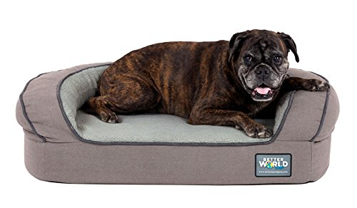 (Better World Pets Super Comfort Bolster Dog Bed :: Waterproof Memory Foam Pet Bed with Durable Canvas Cover, Extra Plush Fleece + Foam Bolsters :: 5 Inch Thick, Washable, Medium, Wolf Grey)