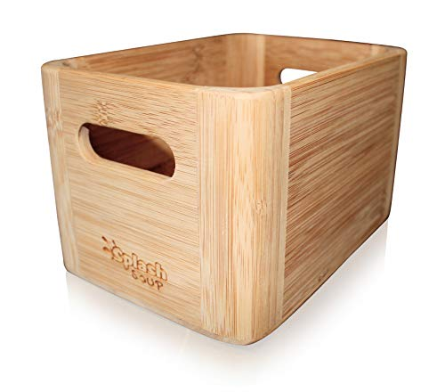 SplashSoup Bamboo Bathroom Organizer | Natural Cosmetic Makeup Vanity Counter Storage | Picnic Table Condiment Holder | Durable Pantry Box | Grill Utensil Spice Helper | Kitchen Accessory Keeper