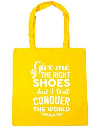 HippoWarehouse me da el derecho zapatos y voy a conquistar el mundo Ballet bolsa de la compra bolsa de playa 42cm x38cm, 10litros amarillo