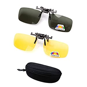 2 Pairs Sunglasses Clip On Flip Up Night Vision Glasses Anti Glare Polarized for Men Women UV400 Best for Driving Golf Shooting Fishing Hunting Outdoor Sports-Yellow+Green