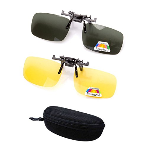 2 Pairs Sunglasses Clip On Flip Up Night Vision Glasses Anti Glare Polarized for Men Women UV400 Best for Driving Golf Shooting Fishing Hunting Outdoor - Sunglasses For Best Driving