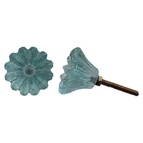 Indianshelf Handmade 8 Piece Hardware Glass Turquoise Sunflower Artistic Rust Free Wardrobe Knobs Drawer Pulls