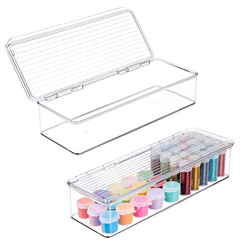mDesign Plastic Art Supplies, Crafts, Crayons and Sewing Stacking Storage Organizer Box Container Holder Tidy with Lid for Organizing Markers, Ribbons, Trims, Beads - 3 high, Pack of 2, Clear