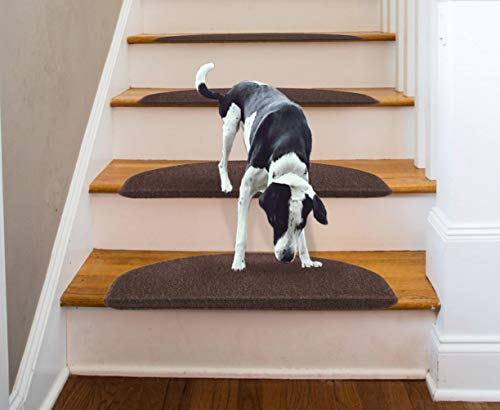 "Comme Rug Non-Slip Brown Stair Tread Bullnose Carpet Indoor Durable Mat Self Adhesive Stair Protectors for Dogs and Kids Set of 13 Modern Stair Cover for Hard Floor Staircase(9"" x 26"")"