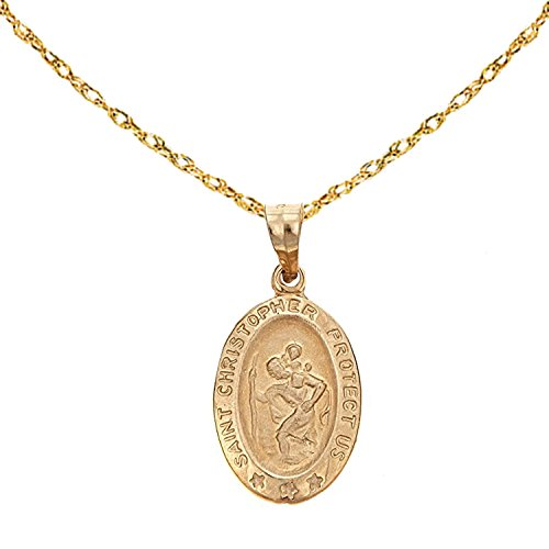 14k Yellow Gold Saint St. Christopher Oval Medal Pendant Charm Chain Necklace (18'' Inches) by Ritastephens