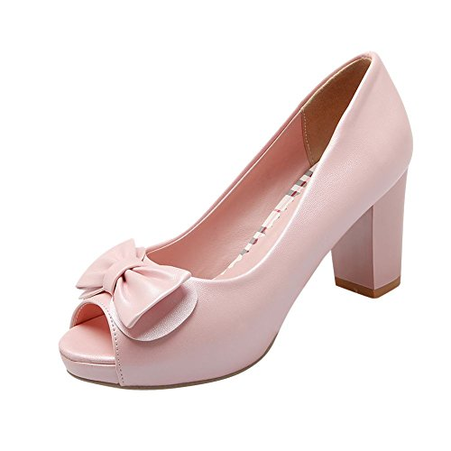 Latasa Mujeres Cute Bow Color Sólido Peep-toe Plataforma Chunky High Heel Dress Casual Bombas Zapatos Rosa