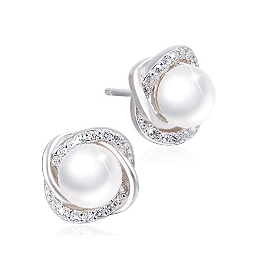 PEARLOVE Women's Genuine Freshwater Pearl Stud Earrings 6MM Hypoallergenic 925 Sterling Silver Earrings Jewellery Gift for Women Girls with Gift Box