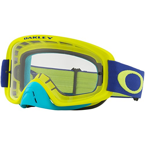 Oakley O Frame 2.0 MX Lime Blue with Clear unisex-adult Goggles (Green, Medium), 1 Pack