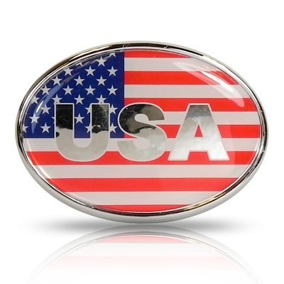(United States USA Flag Oval Shape Metal Car Emblem )