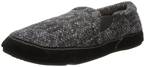 ACORN Men's Fave Gore Slipper, Charcoal Tweed, Medium Wide / 9-10 US - Wide Charcoal