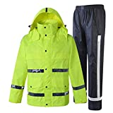 GSHWJS- trash can Waterproof Rain Jacket and Pants, Reflective Safety Raincoat Hooded Poncho Set, Green Reflective Vests (Size : M)