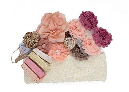 Helena : Cream Blush & Peach DIY Deluxe Mini Headband Kit Makes 5-10 Headband Hair Accessories : Rose & White Shabby Chiffon Craft Roses FOE Fold Over Elastic : Princess -