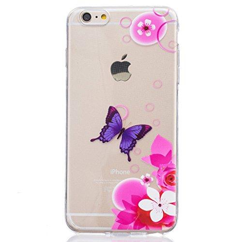 "Hülle iPhone 6 / 6S, IJIA Ultra Dünnen Rosa Blumen Schmetterling TPU Weich Silikon Handyhülle Schutzhülle Handyhüllen Schale Cover Case Tasche für Apple iPhone 6 / 6S (4.7"") + 24K Gold Aufkleber"