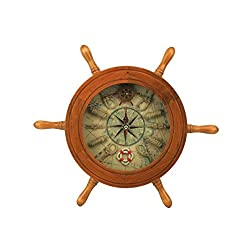 Hampton Nautical Wooden Ship Wheel Clock, 12