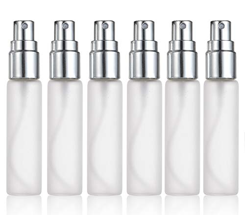 ELFENSTALL- 6pcs Fine Mist Frosted 10ml 1/3OZ Atomizer Silver Glass Bottle Spray Refillable Fragrance Perfume Empty Scent Bottle for Travel Party Portable Free 3ML Free Pipette ()
