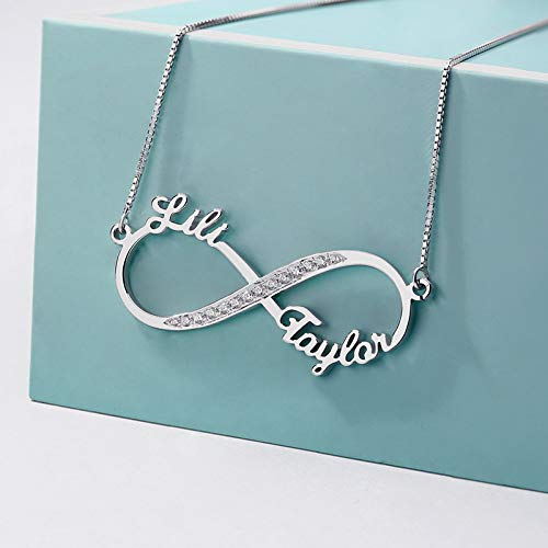 6cd925d636 Amazon.com: Getname Necklace Personalized 925 Sterling Silver Eternal  Infinity Name Necklace Custom Made with 2 Names Couple Pendant for Lover,  Friends, ...