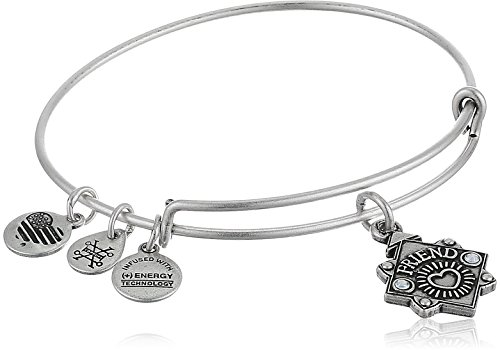 Alex and Ani Womens Because I Love You, Friend Charm Bangle Bracelet, Rafaelian Silver, Expandable (Alex And Ani Bangles Cross)