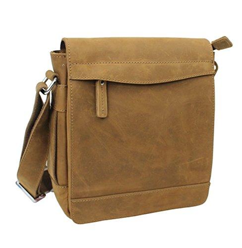 Vagabond Traveler TRIPPER - 9.5'' Leather High Fashion Satchel Bag L72. Brown by Vagabond Traveler