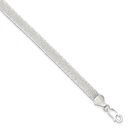 Flat Sterling Mesh - Sterling Silver Flat Mesh Fancy Bracelet 7.5 Inches Long