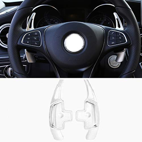 For Mercedes Benz Paddle Shifter Extensions, Partol Aluminum Metal Car Steering Wheel Shift Blade Paddle Shifter Fit For For Benz A B C CLA CLS E G GL GLA GLC GLE GLS Metris S SL SLC Class (Silver)