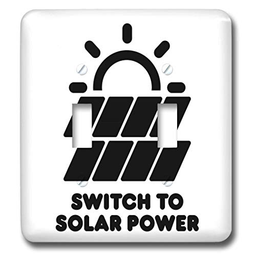 3dRose Carsten Reisinger - Illustrations - Switch to solar power electric power from the sun alternative energy - Light Switch Covers - double toggle switch (lsp_294721_2) by 3dRose