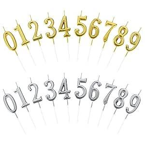 Bolonbi 2 Sets Velas de Número de Cumpleaños, Velas de Números para Tarta para Bodas, Reuniones, Fiesta temática (20 Piezas)