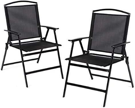 Bylring Patio Folding Sling Dining Chairs Set of 2 Outdoor&Indoor Backrest Portable Chairs for Lawn Garden Patio Pool Yard W/Armrest(Black)