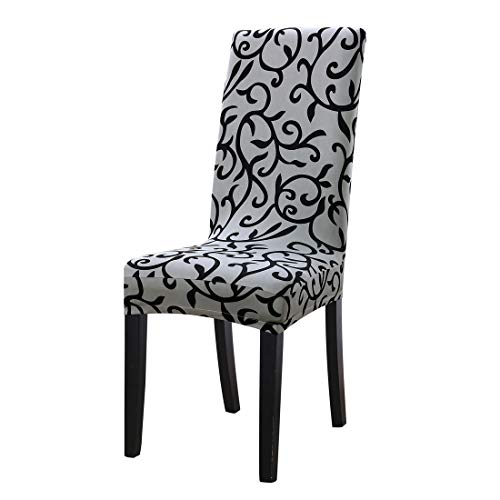uxcell Dining Chair Cover,Stretch Bar Stool Slipcover Kitchen Pattern Chair Protector Spandex Short Chair Seat Cover for Home Decorative/Dining Room/Party/Wedding (Medium,Gray + Black)
