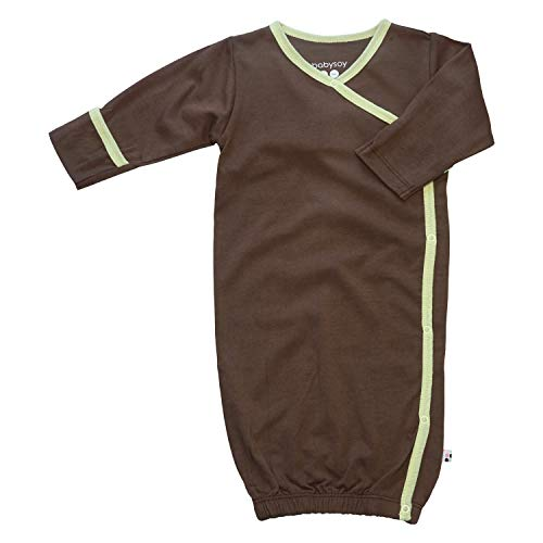 - Babysoy Eco Essential Kimono Bundler - Long Sleeve Baby Sleeper Gown (6-9 Months, Chocolate)
