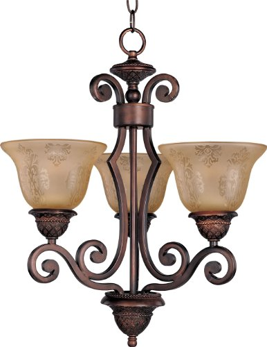 Maxim 11235SAOI Symphony 3-Light Chandelier Single-Tier Chandelier, Oil Rubbed Bronze Finish, Screen Amber Glass, MB Incandescent Incandescent Bulb , 60W Max., Dry Safety Rating, Standard Dimmable, Metal Shade Material, Rated Lumens