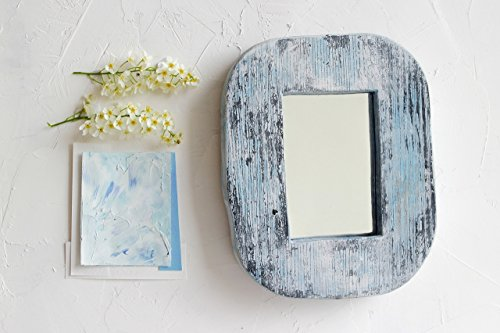 Distressed Antique Etched Glass (Small Wood Wall Mirror 8x6 Inch by WoodenStuff Rustic Wood Framed Mirrors Shabby chic Reclaimed Wall Decal Wooden Border in Distressed Gray Decorative Organizer for Living Room Housewarming Gift)