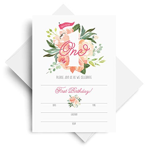1st Birthday Invitations with Envelopes - 5x7 First Bday Party Watercolor Floral Fill-in Style invites for Girls from Bliss Paper Boutique (25 Pack) Custom Printable Birthday Invitations