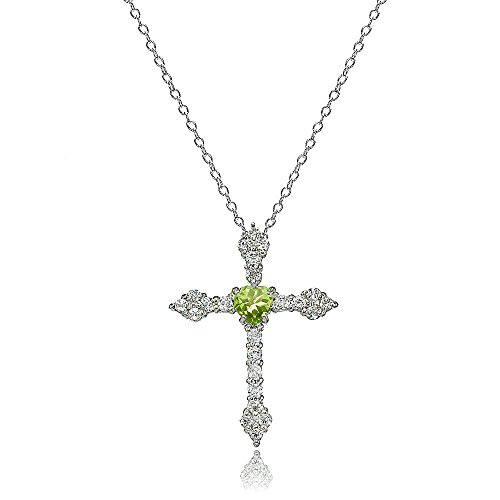 Lovve Sterling Silver Peridot & White Topaz Heart Orthodox Cross Necklace