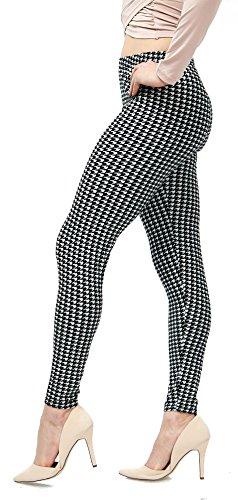 Fashion Leggings (LMB Lush Moda Extra Soft Leggings with Designs- Variety of Prints - 719F Houndstooth B5)