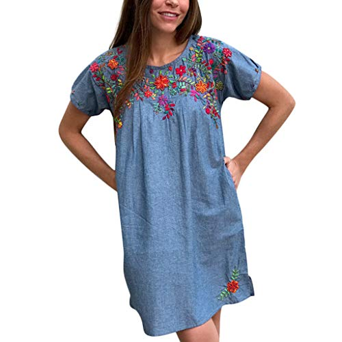 Cenglings Women O Neck Short Sleeve Embroidered Floral Dresses Loose Ruched Flare A-line Dress Beach Printed Mini Dress Blue