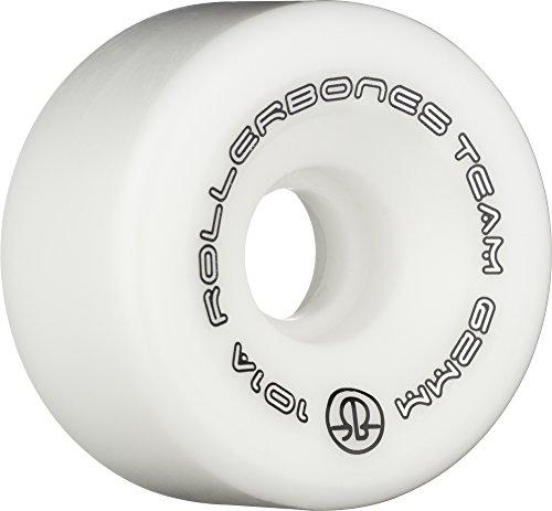 Rollerbones Team Logo 101A Recreational Roller Skate Wheels (Set of 8), White, 62mm (Skate Roller Wheels Artistic)
