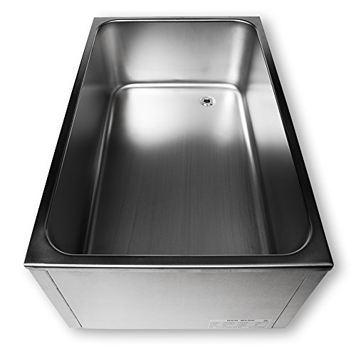 SYBO ZCK165BT-3 Commercial Grade Stainless Steel Bain Marie Buffet Food Warmer Steam Table for Catering and Restaurants, (3 Sections with Tap), Sliver by SYBO (Image #4)