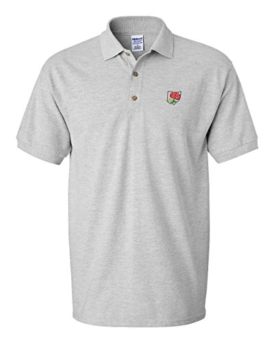 Ohio State Flower Embroidery Adult Button-End Spread Short Sleeve Unisex Cotton Polo Shirt Golf Shirt - Oxford Grey, Medium