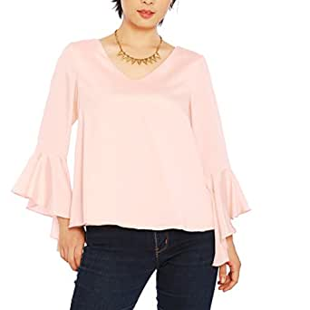 Cheapcotton Women's V-neck Long Bell Sleeves Cut Out Back Blouse (S, Beige)