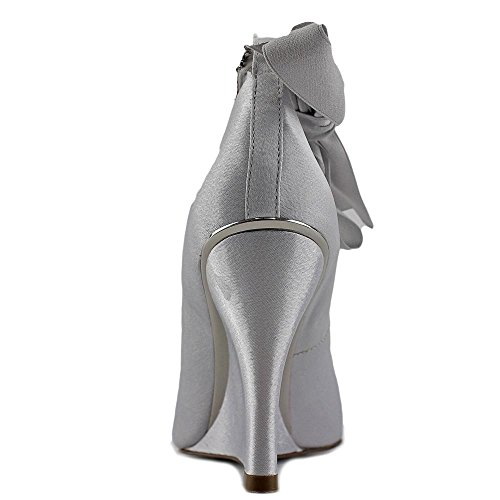 Open Wedge Royal Ankle Emma Silver Womens Pumps Nina Toe Strap xnUEYz