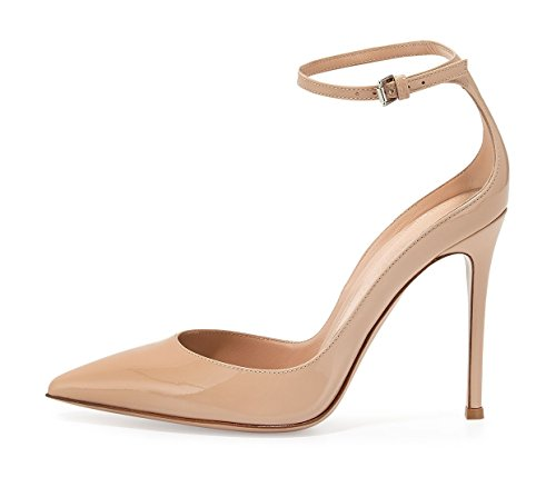 Shoes Ankle Beige Buckled High Pointed Heel Court Stiletto Strap Soireelady Toe Womens vpHqgg