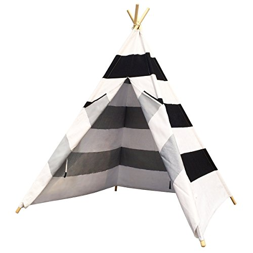 Free Space Children Play Tent with Stripes 100% Cotton Four Poles One Window Indoor Play Tent for Kids, Black/White by Free Space