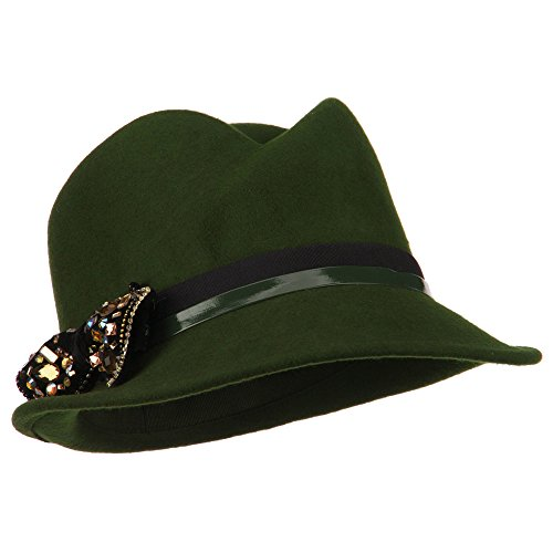 Ladies Wool Felt Bow Fedora - Olive OSFM
