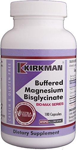 Kirkman Buffered Magnesium Bisglycinate - Bio-Max Series – Hypoallergenic | 180 Vegetarian Capsules | Gluten Free | Casein Free