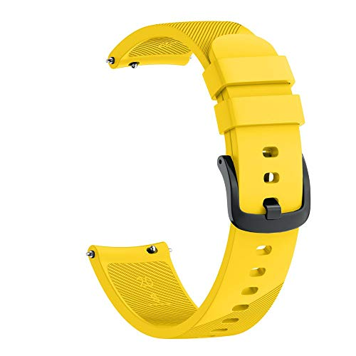 Kiorc Small Silicone Replacement Watch Band Strap for Samsung Galaxy Watch 42mm (Yellow) ()